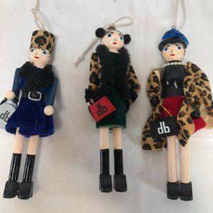 "Dennis Basso S/3 ""DB Girl"" Nutcracker Ornaments"